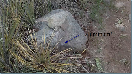 aluminum on rock